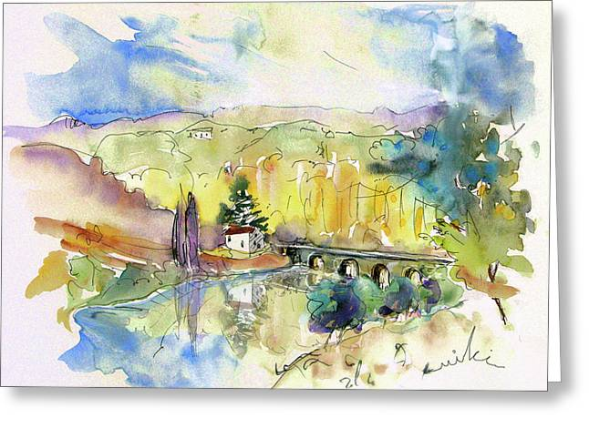 Travel Sketch Drawings Greeting Cards - Perigord in France 10 Greeting Card by Miki De Goodaboom