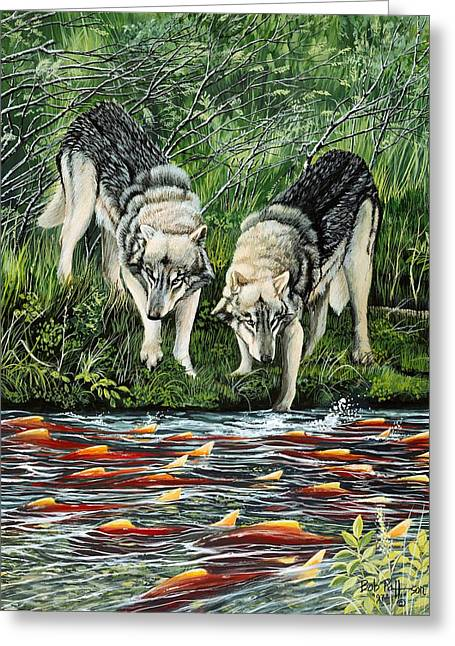 Best Sellers -  - Salmon Paintings Greeting Cards - Perplexed Wolves Greeting Card by Bob Patterson