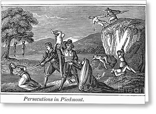 Anti Protestant Greeting Cards - Persecution Of Waldenses Greeting Card by Granger