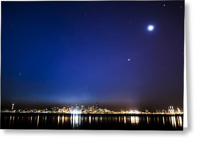 Perseid Meteor In Seattle Greeting Card by Yoshiki Nakamura