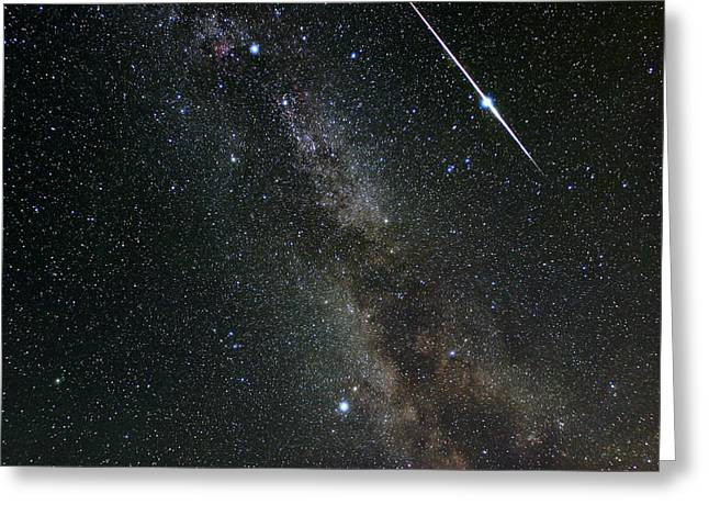 Perseid Meteor Shower Greeting Cards - Perseid Meteor Shower, Meteor Track Greeting Card by Eckhard Slawik