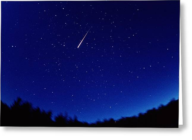 Perseid Photographs Greeting Cards - Perseid Meteor Trail Greeting Card by Pekka Parviainen