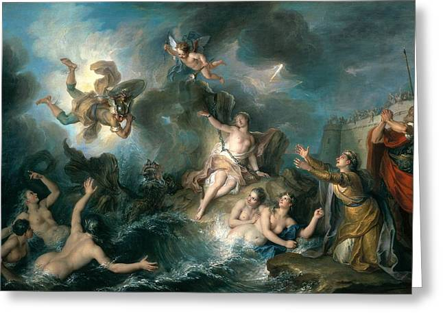 Buttocks Greeting Cards - Perseus Rescuing Andromeda Greeting Card by Charles Antoine Coypel