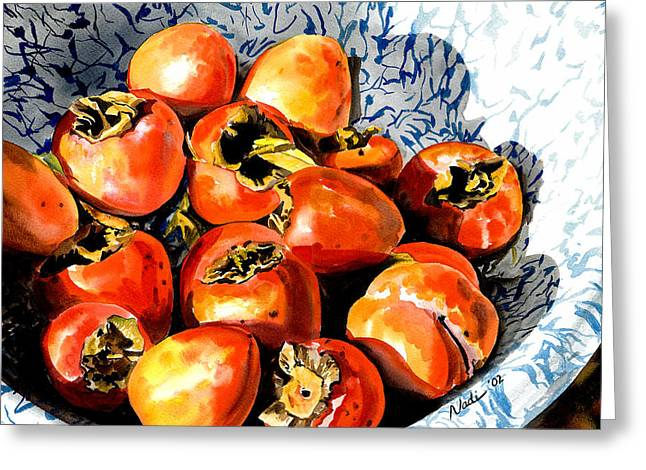 Nadi Spencer Paintings Greeting Cards - Persimmons Greeting Card by Nadi Spencer