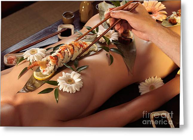 Asian Ethnicity Greeting Cards - Person Eating Nyotaimori Body Sushi Greeting Card by Oleksiy Maksymenko