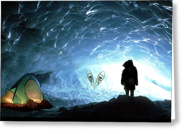 Contradictions Greeting Cards - Person In Ice Cave, Appa Glacier Greeting Card by David Nunuk