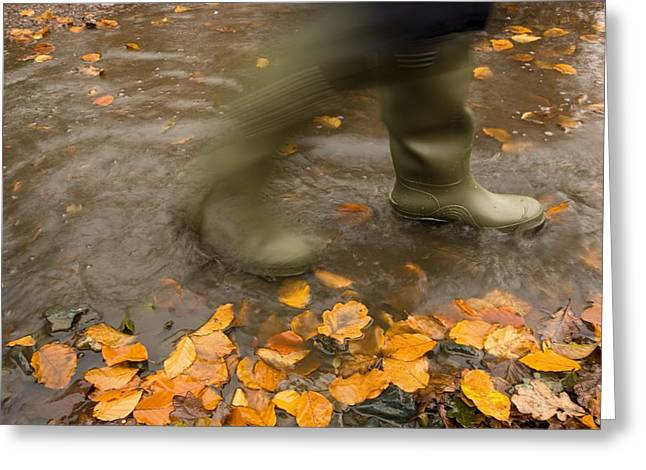 Rubber Boot Greeting Cards - Person In Motion Walks Through Puddle Greeting Card by John Short