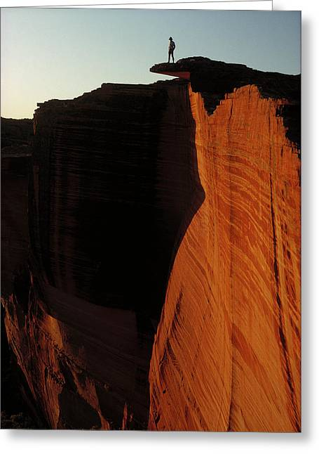 Ai Greeting Cards - Person Standing Atop The Kings Canyon Greeting Card by Jean-Paul Ferrero