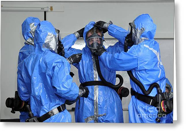 Hazmat Greeting Cards - Personnel Dressed In Hazmat Suits Greeting Card by Stocktrek Images