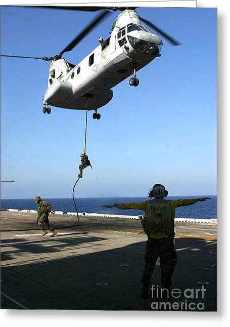 Fast-roping Greeting Cards - Personnel Fast-rope From The Rear Greeting Card by Stocktrek Images