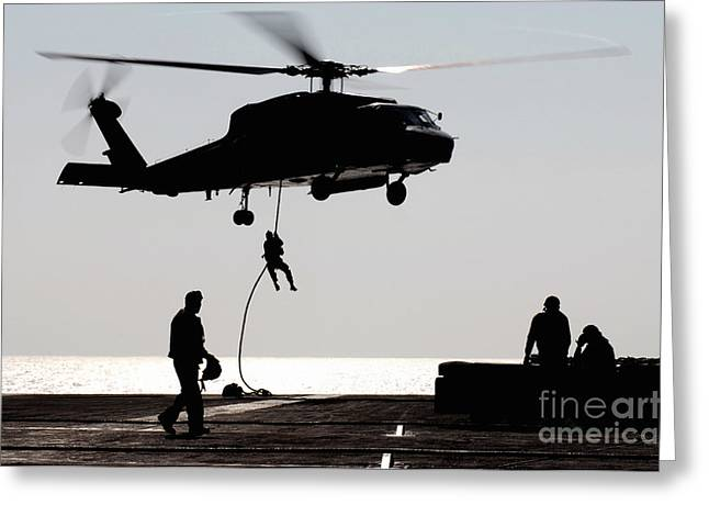 Fast-roping Greeting Cards - Personnel Fast-rope Out Of An Sh-60f Greeting Card by Stocktrek Images