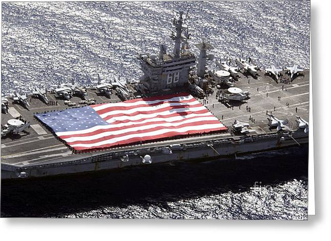 Flight Deck Greeting Cards - Personnel Participate In A Flag Greeting Card by Stocktrek Images