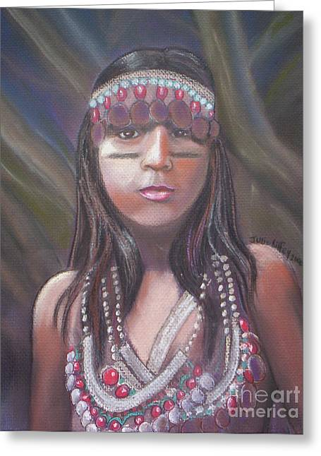 Olive Green Pastels Greeting Cards - Peruvian Girl Greeting Card by Julie Brugh Riffey