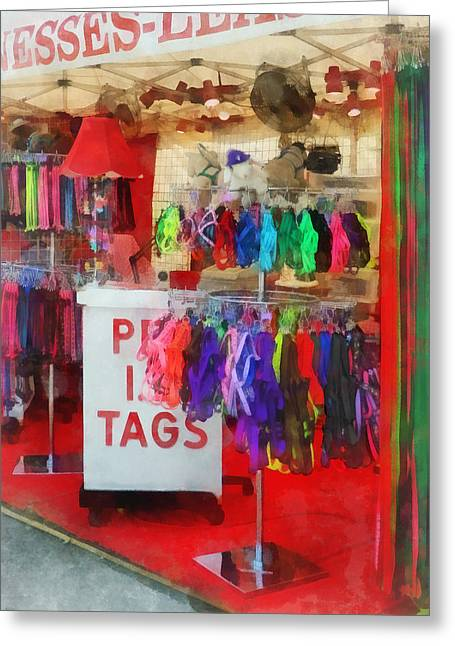 Pet Leashes And Harnesses For Sale Greeting Card by Susan Savad