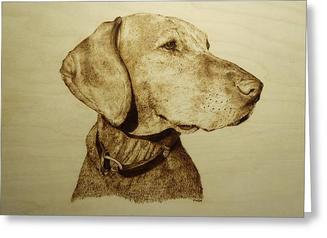 Pet Pyrography Greeting Cards - Pet Portrait - Hunter Greeting Card by Adam Owen