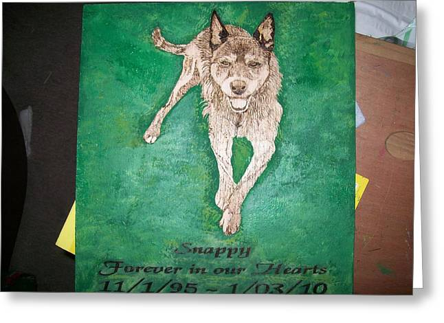 Pets Pyrography Greeting Cards - Pet Portrait Wood Burn Wall Plaque U Provide Picture by Pigatopia Greeting Card by Shannon Ivins