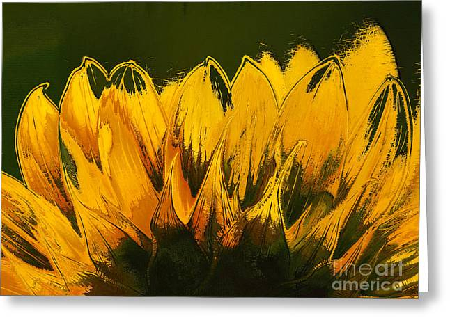 Yellow Sunflower Digital Greeting Cards - Petales de Soleil - a41b Greeting Card by Variance Collections
