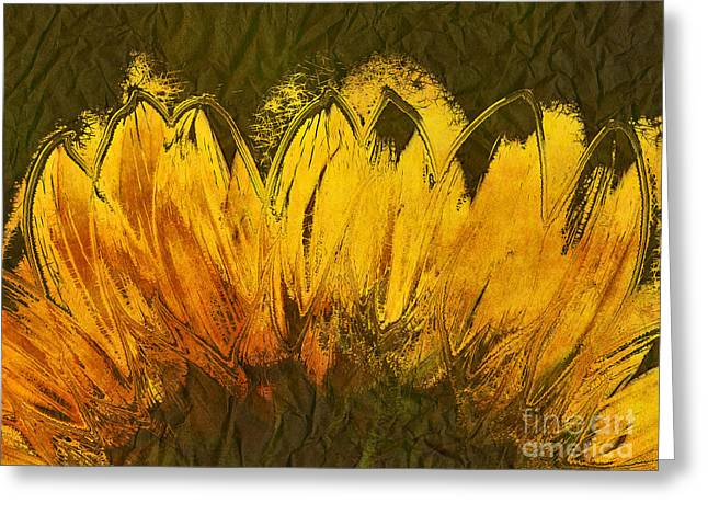 Yellow Sunflower Digital Greeting Cards - Petales de Soleil - a43t02b Greeting Card by Variance Collections