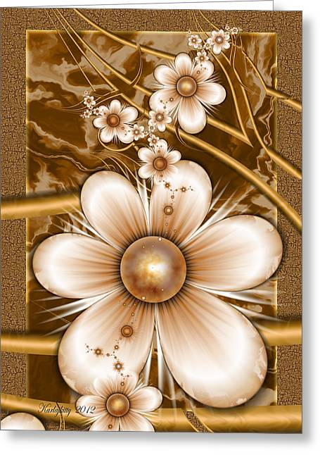 Karlajkitty Digital Art Greeting Cards - Petals and Pearls Greeting Card by Karla White