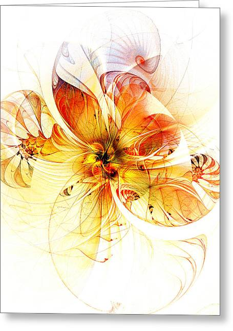 Floral Digital Art Greeting Cards - Petals of Gold Greeting Card by Amanda Moore