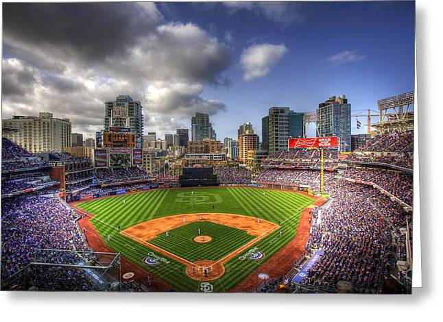 Field Greeting Cards - Petco Park Opening Day Greeting Card by Shawn Everhart