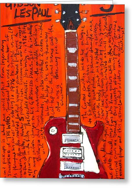 The Les Paul Guitar Greeting Cards - Pete Townshends Les Paul 5 Greeting Card by Karl Haglund