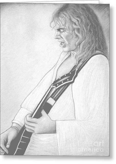Peter Frampton Black And White Greeting Card by Denise Haddock
