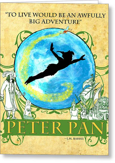 Pirate Ship Greeting Cards - Peter Pan Tribute Greeting Card by William Depaula