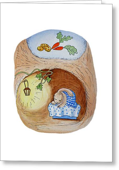 Potter Greeting Cards - Peter Rabbit and His Dream Greeting Card by Irina Sztukowski