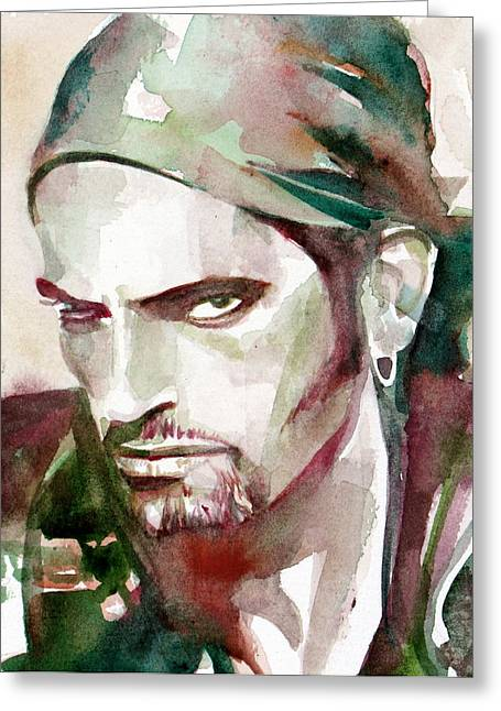 Steele Paintings Greeting Cards - Peter Steele Portrait.6 Greeting Card by Fabrizio Cassetta