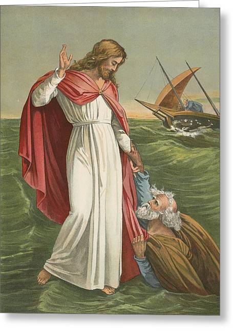 Christ Child Greeting Cards - Peter Walking on the Sea Greeting Card by English School