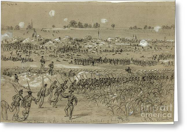 Negro Greeting Cards - Petersburg Explosion, 1864 Greeting Card by Granger