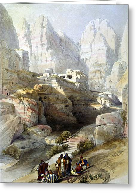 Jordan Drawing Greeting Cards - Petra March 10th 1839 Greeting Card by Munir Alawi