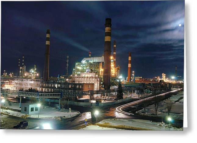 Moonlit Night Greeting Cards - Petrochemical Factory At Night Greeting Card by Ria Novosti