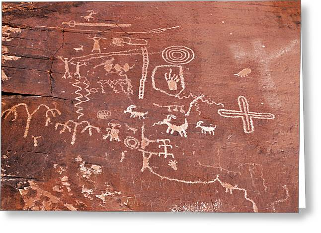 Ancient Indian Art Greeting Cards - Petroglyph Canyon - Valley of Fire Greeting Card by Christine Till