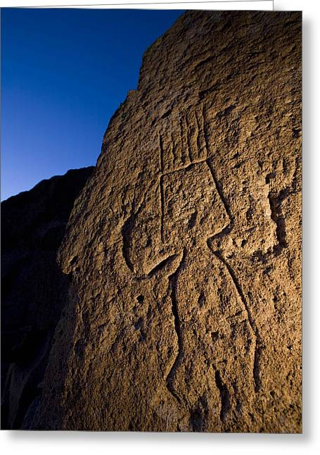 Ancient Indian Art Greeting Cards - Petroglyphs Are Seen At Twilight Greeting Card by Ralph Lee Hopkins