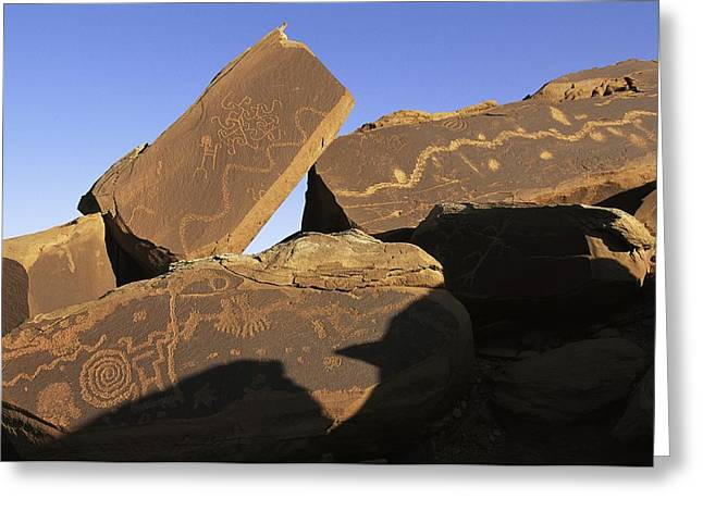 Sculpture Indians Photographs Greeting Cards - Petroglyphs Near Little Colorado River Greeting Card by David Edwards