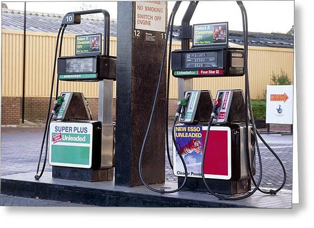 Petrol Station Greeting Cards - Petrol Pumps Greeting Card by Andrew Lambert Photography