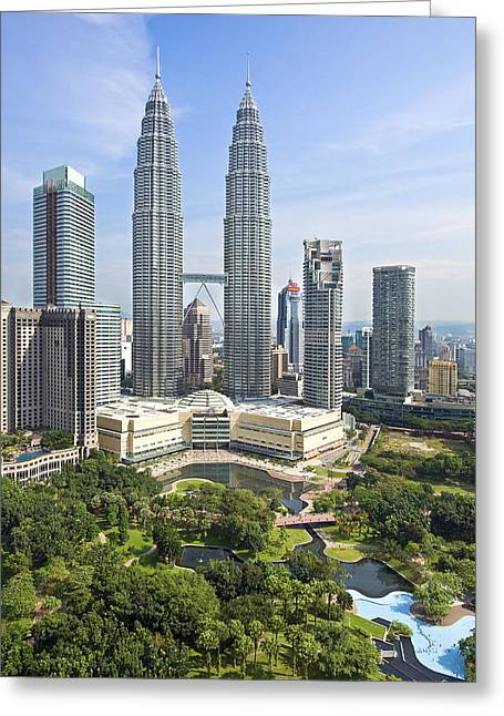 Malaysia Greeting Cards - Petronas Twin Towers Greeting Card by Ng Hock How