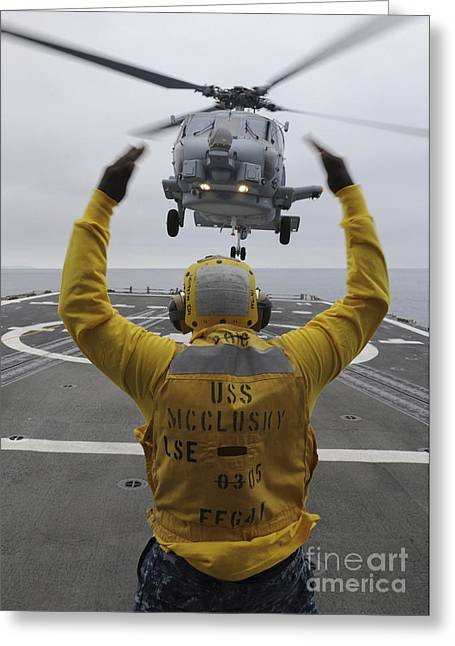 Guided Missiles Greeting Cards - Petty Officer Guides An Sh-60r Sea Hawk Greeting Card by Stocktrek Images
