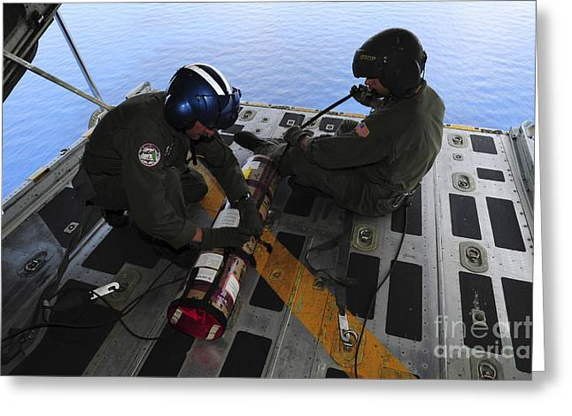 Aircrew Greeting Cards - Petty Officers Prepare To Drop Greeting Card by Stocktrek Images