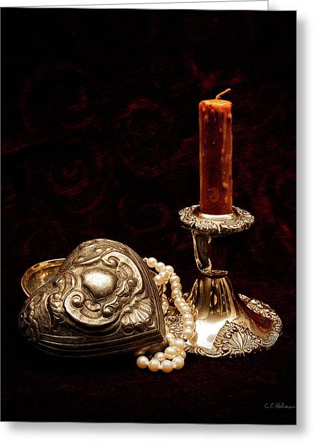 Christopher Holmes Greeting Cards - Pewter And Pearls Greeting Card by Christopher Holmes