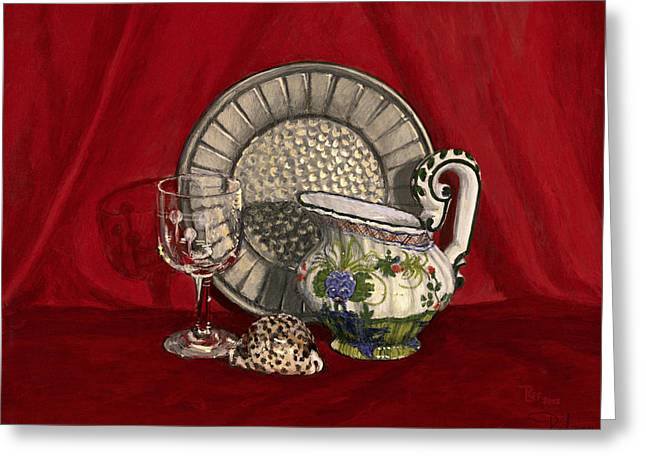 Pewter dish with red cloth. Greeting Card by Raffaella Lunelli