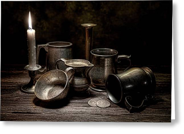 Pitcher Greeting Cards - Pewter Still Life II Greeting Card by Tom Mc Nemar