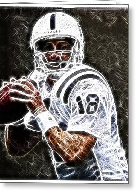 Peyton Manning 18 Greeting Card by Paul Ward