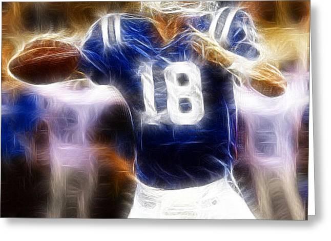 Peyton Manning Greeting Card by Paul Ward