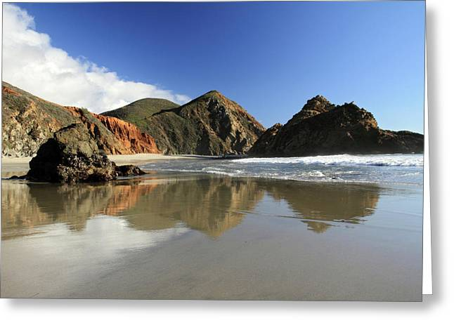 Big Sur Beach Greeting Cards - Pfeiffer Beach reflection Greeting Card by Pierre Leclerc Photography