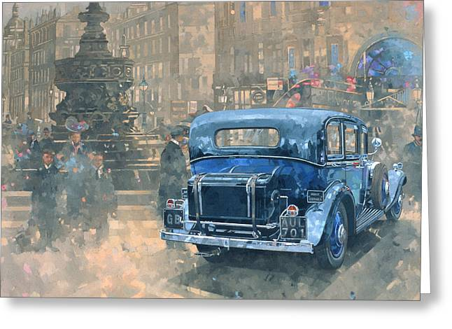 Old Car Greeting Cards - Phantom in Piccadilly  Greeting Card by Peter Miller
