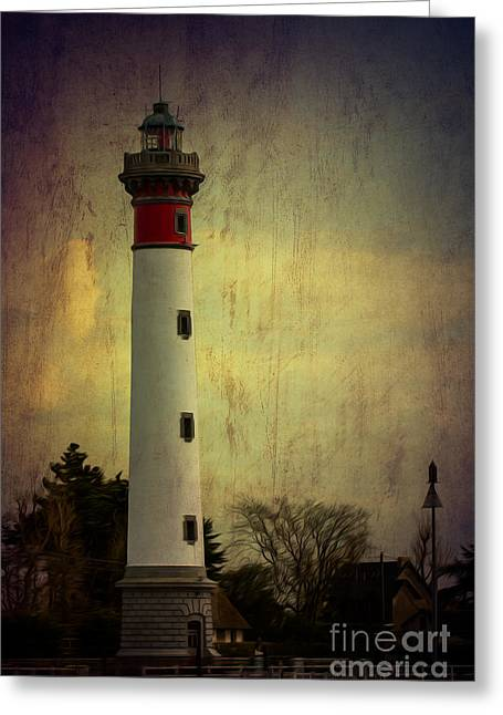 Safety Cones Greeting Cards - Phare de Ouistreham or Ouistreham Lighthouse    Caen Greeting Card by Clare Bambers