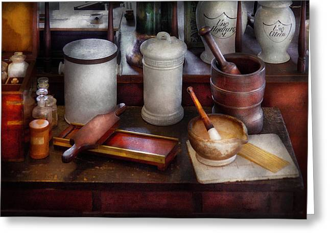 Suburbanscenes Greeting Cards - Pharmacist - Equipment for making pills  Greeting Card by Mike Savad